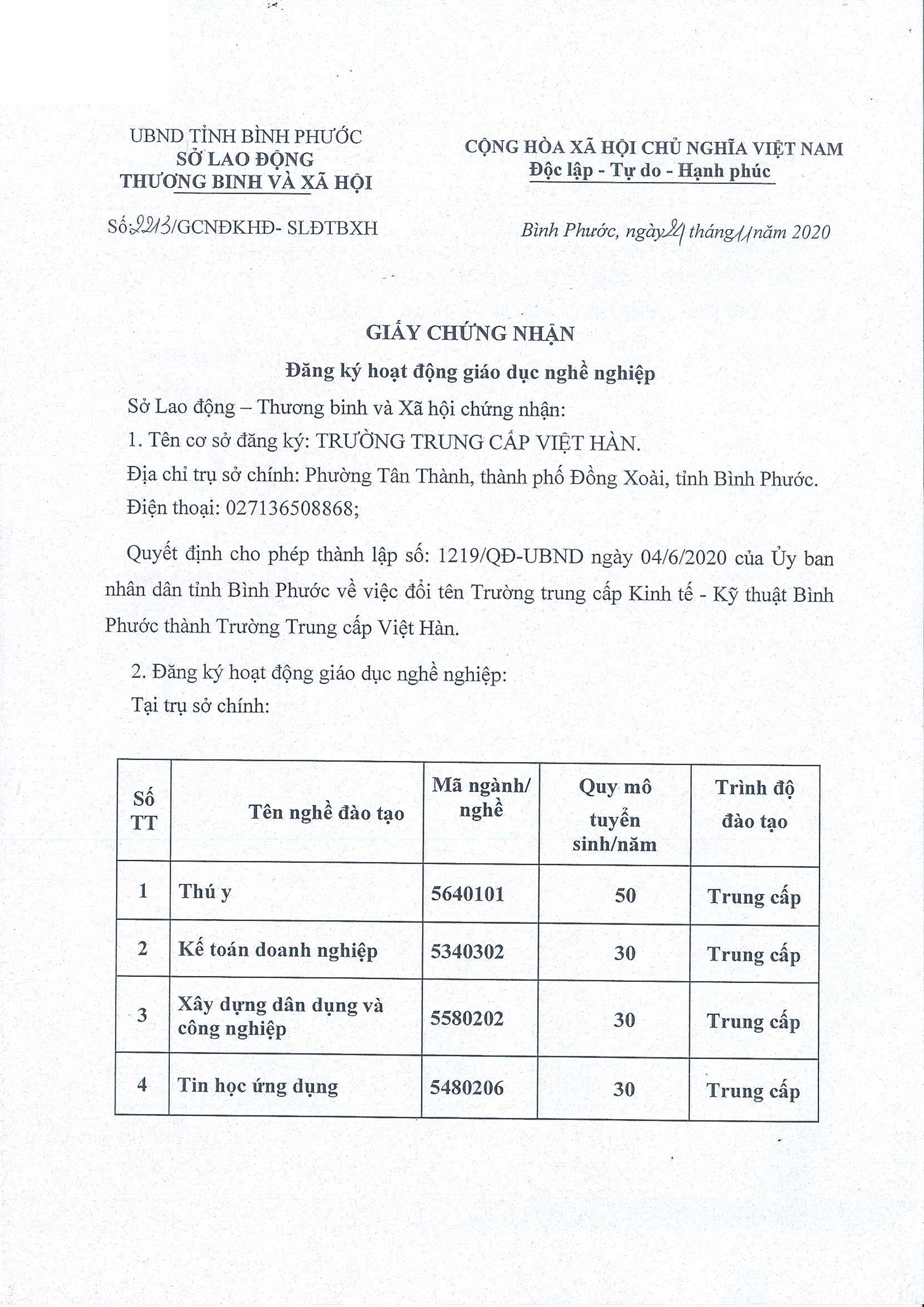 Đăng Ký Hoạt Động Giáo Dục Nghề Nghiệp Của Trường Trung Cấp Việt Hàn - 1