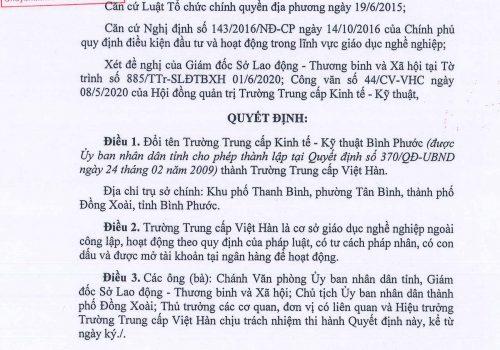 Quyết Định Đổi Tên Trung Cấp Kinh Tế Kỹ Thuật Bình Phước Thành Trung Cấp Việt Hàn
