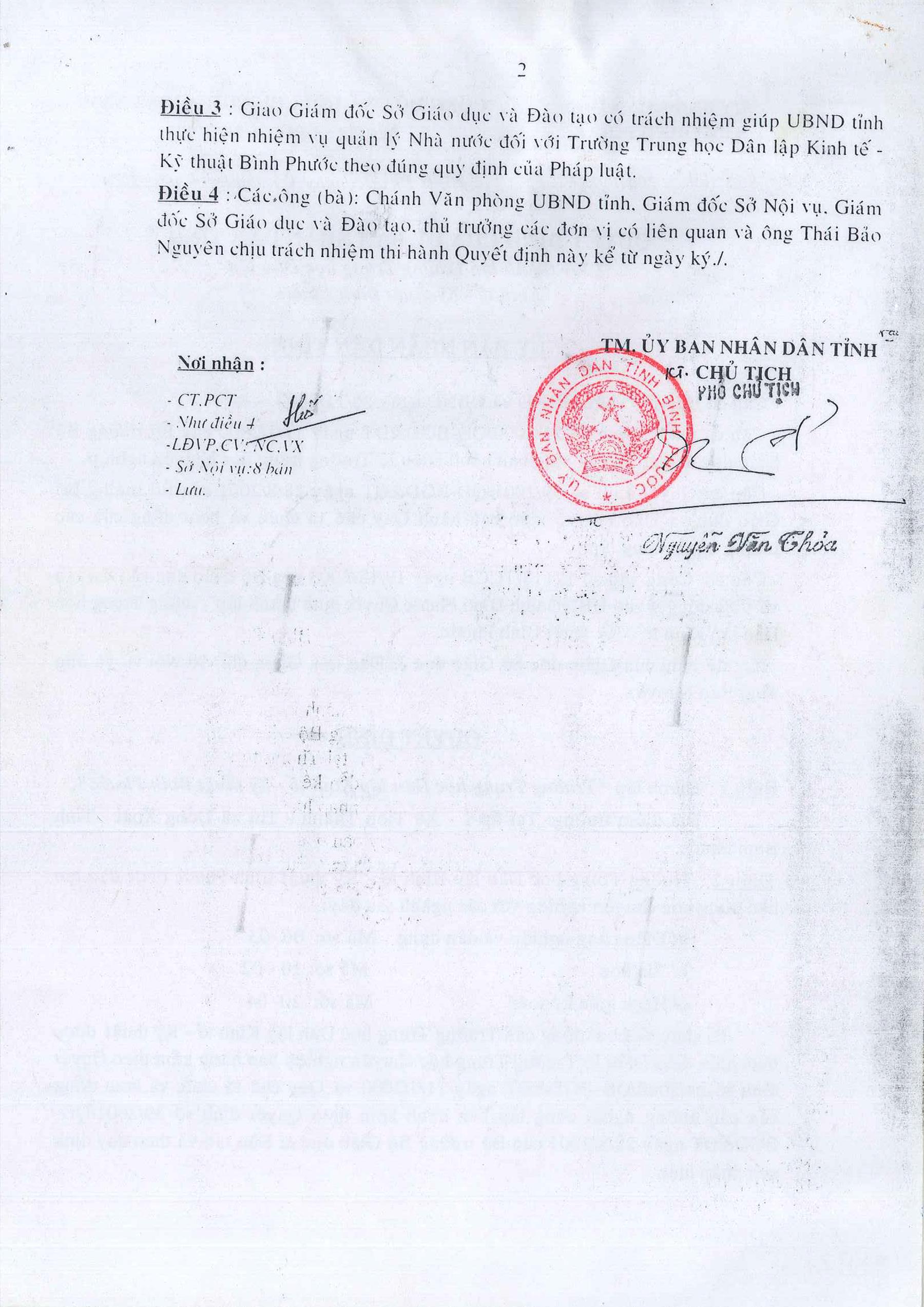 Quyết Định Thành Lập Trường Dân Lập Kinh Tế Kỹ Thuật Bình Phước